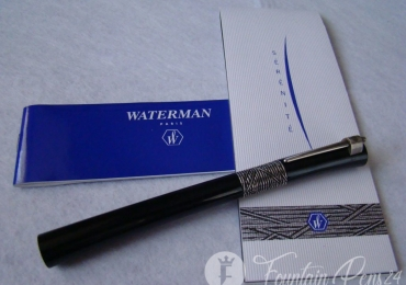 WATERMAN SERENITE BLACK FOUNTAIN PEN SOLID GOLD 18k