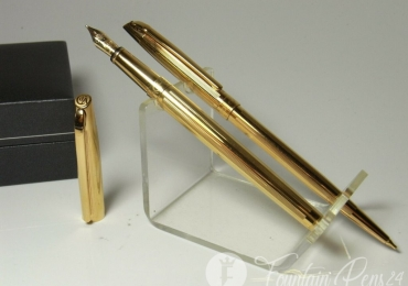 SOLD / VENDIDO ………..NOS CARAN D´ACHE Madison Ciselé fountain pen 18ct M nib & pencil & box