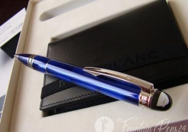 Montblanc Starwalker Cool Blue Ballpoint Pen + 4810 westside Business Card Holder Leather