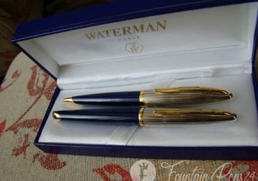 SOLD !!!    Carene Deluxe Blue & Silver Gold SET Fountain pen , Ballpoint
