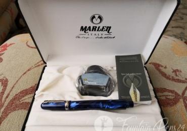SET MARLEN Series MARC CHAGAL Silver Blue Pearl Resin Fountain Pen & bottle of ink Edition BBVA BANK Nib M  NEW
