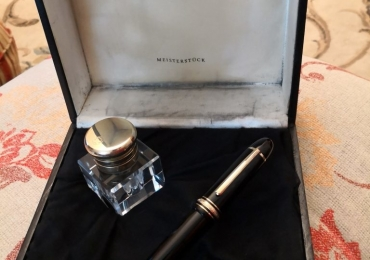 Vintage Montblanc Meisterstuck 149  Fountain Pen and Glass Inkwell ink well bottle Estilografica