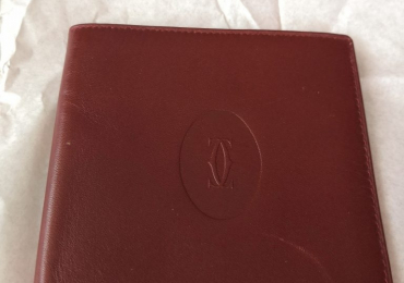 Cartier burgundi leather cartera billetero tarjetero burdeos 10×9  cm.