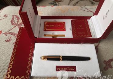SOLD !!!      .CARTIER PASHA Black Fountain pen estilográfica nib M