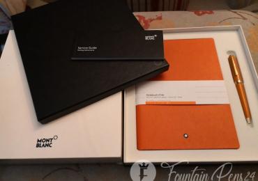 SET MONTBLANC Orange Ballpoint pen Pix & Notebook Lucky Boligrafo