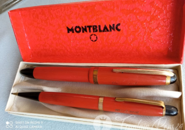 Montblanc coral red 216 fountain pen montblanc 12 pencil SET