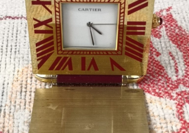 Cartier Alarm Travel Clock Gold Burgundy despertador