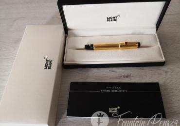 SOLD / VENDIDO …….MONTBLANC BOHEME GOLD SOLITAIRE ROUGE STONE Fountain Pen Estilográfica