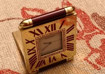 Cartier Travel Alarm Clock quartz París lacquer Burgundy