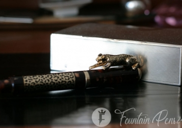 Roller ball Leopard Urso luxury solid silver 925 vermeil limited edition pen